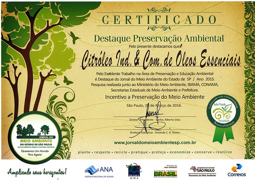 Certificado Destaque Preservação Ambiental